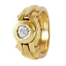 Modern Bezel Brilliant Diamond 14KT Yellow Gold Industrial Designer Ring - #388