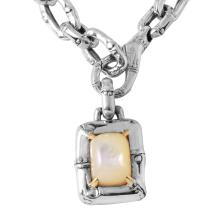 Authentic Designer John Hardy 41.00ctw Sterling Silver & 18KT Gold Mother-Of-Pearl Necklace & Pendant - #567
