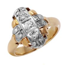Vintage Art Deco Style Diamond 14KT Two Tone Gold Miligrain Ring - #446A