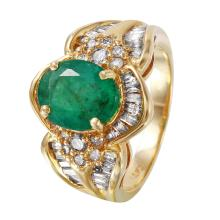 Italianate Style  4.23ctw Emerald and Diamond 14KT White Gold Ring - #1267