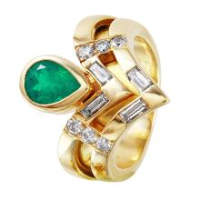 Modern Bypass Bezel  1.78ctw Emerald and Diamond Yellow Gold Ring - #1266
