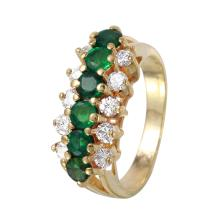 Triple Row 1.05ctw Emerald and Diamond 14KT Yellow Gold Ring - #1063