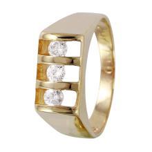 Gent's Handsome Luxury 0.36ctw Diamond 14KT Yellow Gold Ring - #1203