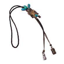 Authentic Designer John Larsen Turquoise Sterling Silver Vintage Bolo Tie - #520