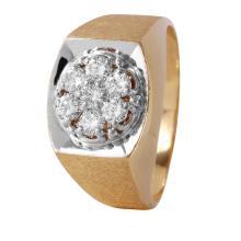 Gent's Zeus 1.10ctw Brilliant Diamond 14KT Yellow Gold Ring - #379