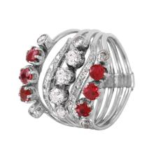 Celebrity Popular 1.55ctw Ruby and Diamond 14KT White Gold Five-Stack Flex Rings - #1199