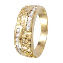 Gent's Nugget Design Channel Diamond 14KT Yellow Gold Ring - #1121