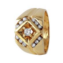 Gent's Triumph Diamond 14KT Yellow Gold Geometric Ring - #483A