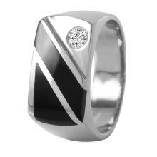 Gent's Sleek Black Onyx and Diamond 14KT White Gold Yachtsman Ring - #447A