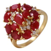 Floral 5.30ctw Ruby and Diamond 14KT Yellow Gold Cluster Ring