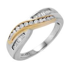 Intertwine Channel Diamond 14KT Two Tone Gold Ring