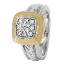 Genuine Authentic Designer David Yurman Diamond 18KT Yellow Gold Sterling Silver Ring