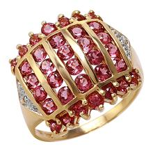 Valiant 3.07ctw Pink Tourmaline and Diamond 10KT Yellow Gold Deluxe Channel Ring