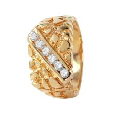 Gent's Shiny 0.60ctw Diamond 14KT Yellow Gold Nugget Ring