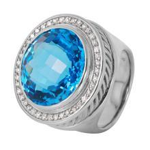 Authentic Designer David Yurman Sterling Silver 0.50ctw Diamond and Albion Blue Topaz Ring