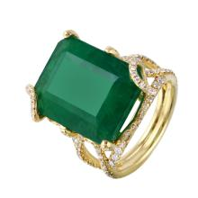 Royalty Hand Made 17.86ctw Emerald and Diamond 18KT Yellow Gold Ring