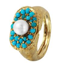 Textured Pearl and Beaded Persian Turquoise Custom Made Engraved 18KT Yellow Gold Oval Ring