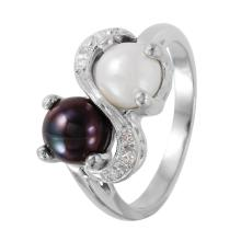 Mimosa Black and White Pearl  Diamond Ladies 10KT White Gold Ring