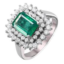 NEW Double-Decker 1.84ctw Emerald and Diamond 14KT White Gold Cluster Ring