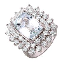 New Royalty 7.79ctw Emerald and Diamond 14KT White Gold Double Row Cluster Ring