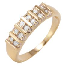 Double Row Brilliant Diamond 14KT Yellow Gold Channel Bar Band - #456
