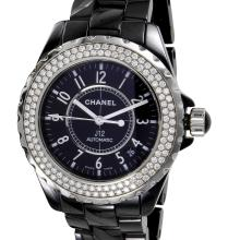 Sleek Black Genuine Authentic Designer Chanel J12 Automatic Ceramic  VS-F Quality Diamond Watch - #951