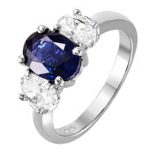 NEW Timeless 3.26ctw Oval Sapphire and Diamond 18KT Past, Present and Future Three -Stone Ring - #2137