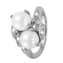 Jasmine Double Pearl and Diamond 14KT White Gold Ring - #1111
