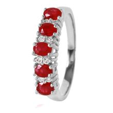 Finesse 1.01ctw Ruby and Diamond 14KT White Gold Band - #369
