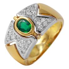 Aztec Zigzag Style Emerald and Diamond 18KT Two Tone Ring - #2