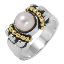 Authentic Designer Lagos Caviar Sterling Silver and 18KT Yellow Gold Ring - #559