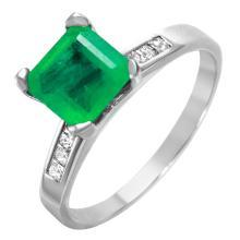 Mercury Style Elegant 2.73ctw Emerald and Diamond 14KT White Gold Ring - #1262