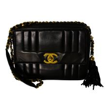 Classic Authentic Designer Chanel Black Calfskin Chain and Tassel Shoulder Bag-Great Condition - #148