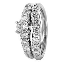 Dazzling 1.59ctw Brilliant Diamond 14K-18K White Gold Matching Wedding Ring Set - #442A