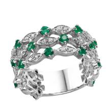 NEW Triple-Row 1.25ctw Emerald and Diamond 14KT White Gold Vine and Trellis Design Ring - #2089