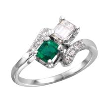 Trademark Antique Style Inspired 1.26ctw Emerald and Diamond 14KT White Gold Bypass Ring - #1675