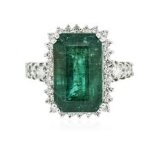 14KT White Gold 11.58 ctw Emerald and Diamond Ring
