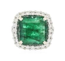 14KT White Gold 7.77 ctw Emerald and Diamond Ring