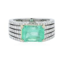 14KT White Gold 3.47 ctw Emerald and Diamond Ring