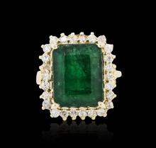 14KT Yellow Gold 7.38 ctw Emerald and Diamond Ring