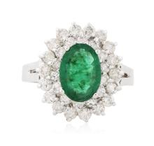 14KT White Gold 1.32 ctw Emerald and Diamond Ring