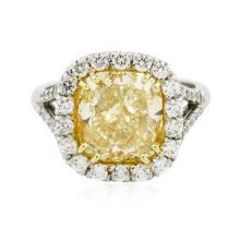 Platinum EGL USA Certified 5.80 ctw Fancy Yellow Diamond Ring