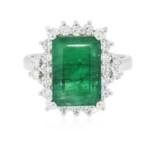 14KT White Gold 5.13 ctw Emerald and Diamond Ring