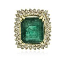 14KT Yellow Gold 10.90 ctw Emerald and Diamond Ring