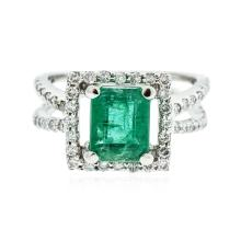 18KT White Gold 2.29 ctw Emerald and Diamond Ring