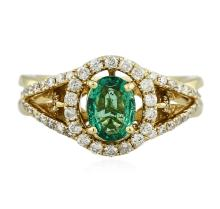 14KT Yellow Gold 0.62 ctw Emerald and Diamond Ring