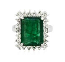 14KT White Gold 6.12 ctw Emerald and Diamond Ring
