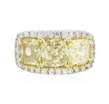 Platinum EGL USA Certified 5.69 ctw Fancy Yellow Diamond Ring