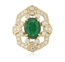 14KT Yellow Gold 2.77 ctw Emerald and Diamond Ring