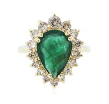 14KT Yellow Gold 3.10 ctw Emerald and Diamond Ring